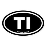 TI Topsail Island Black Euro Oval Decal