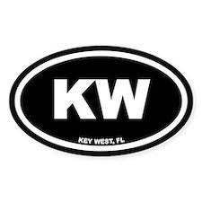 KW Key West, Fl Black Euro Oval Sticker (50 pk)