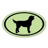 Labradoodle Oval ( black/lt.green) Oval Decal