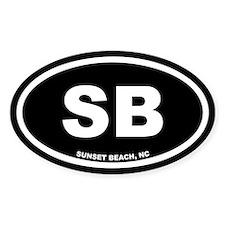 SB Sunset Beach, NC Black Euro Oval Decal