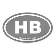 HB Holden Beach, NC Black Oval Sticker (10 pk)