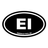 EI Emerald Isle, NC Black Oval Sticker (50 pk)