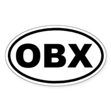 OBX Outer Banks, NC Euro Oval Sticker (10 pk)