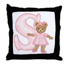 Teddy Alphabet S Pink Throw Pillow