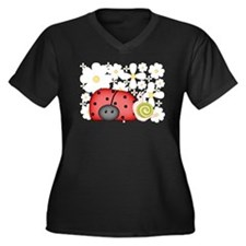 LadybugLove Women's Plus Size V-Neck Dark T-Shirt