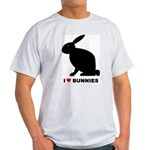I Love Bunnies Ash Grey T-Shirt