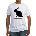 I Love Bunnies Fitted T-Shirt