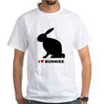 I Love Bunnies White T-Shirt