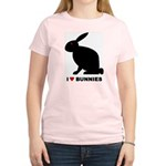 I Love Bunnies Women's Pink T-Shirt