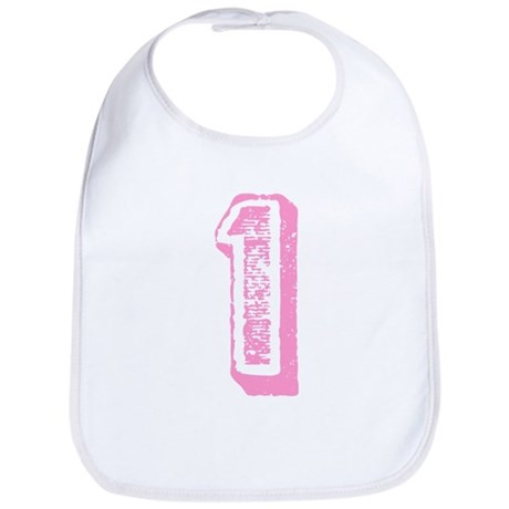 Pink Number 1 Birthday Bib