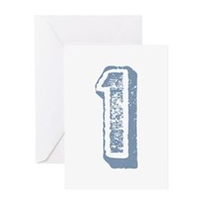 Blue Number 1 Birthday Greeting Card