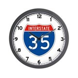 Interstate 35, USA Wall Clock