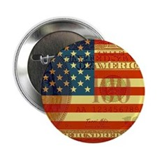 """Flag with Hundred Dollar Bill 2.25"""" Button"""
