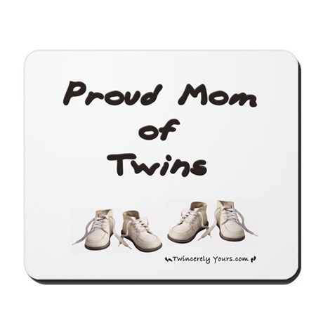 Proud Mom of Twins Baby Shoes Mousepad