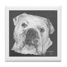 Bulldog b/w Tile Coaster