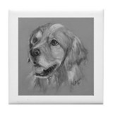 Golden Retriever b/w Tile Coaster
