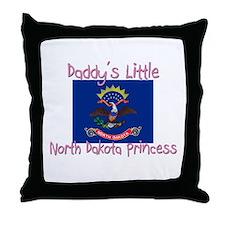 Daddy's little North Dakota Princess Throw Pillow