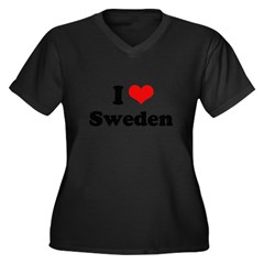 I love Sweden Women's Plus Size V-Neck Dark T-Shir