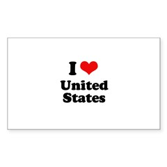 I love United States Rectangle Sticker 10 pk)