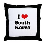I Love South Korea Throw Pillow