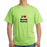 I Love South Korea Green T-Shirt