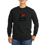 I Love South Korea Long Sleeve Dark T-Shirt