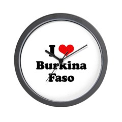 I love Burkina Faso Wall Clock