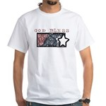Patriotic Tie Dye Flag Design White T-Shirt