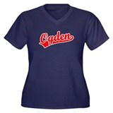 Retro Ogden (Red) Women's Plus Size V-Neck Dark T-