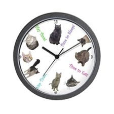 """Time for Cats"" Wall Clock"