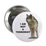 """NOT A TERRORIST"" Wolf Appare 2.25"" Button"