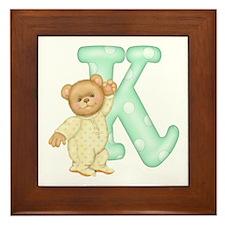 Teddy Alphabet K Green Framed Tile