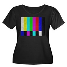 Off Air TV Bars Women's Plus Size Scoop Neck Dark