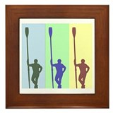THREE ROWERS BRIGHT CHALK Framed Tile