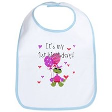 Girl Frog First Birthday Bib