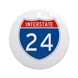 Interstate 24, USA Ornament (Round)