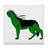 Green Dog-like Chupacabra Tile Coaster