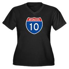 Interstate 10, USA Women's Plus Size V-Neck Dark T