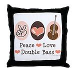 Peace Love Double Bass Throw Pillow
