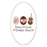 Peace Love Double Bass Oval Sticker (50 pk)