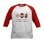 Peace Love Double Bass Kids Baseball Jersey