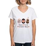Peace Love Double Bass Women's V-Neck T-Shirt