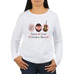 Peace Love Double Bass Women's Long Sleeve T-Shirt