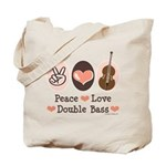 Peace Love Double Bass Tote Bag