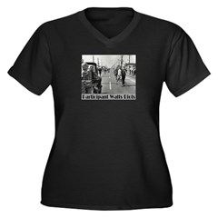 Watts Riots Women's Plus Size V-Neck Dark T-Shirt