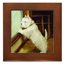 Waiting Westie Framed Tile