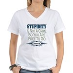 Stupid Criminals Women's V-Neck T-Shirt