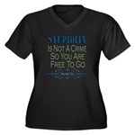 Stupid Criminals Women's Plus Size V-Neck Dark T-S