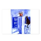 BLACK CAT Santorini Design 3 Postcards (Package of