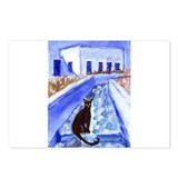 BLACK CAT Santorini Design 4 Postcards (Package of